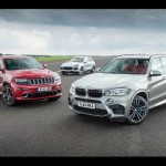 Jeep Grand Cherokee SRT vs Porsche Cayenne Turbo S vs BMW X5 M – performance SUV drag race